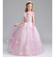 Flower girl formal dress pink 100-150cm