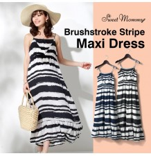 Maternity and nursing brushstroke stripe maxi dress