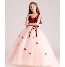 Vestito cerimonia bimba damigella rosa/rosso 100-150cm