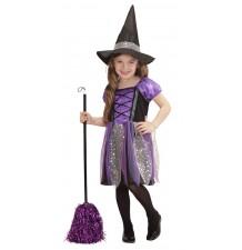Costume petite sorcière en violet 3-5 ans