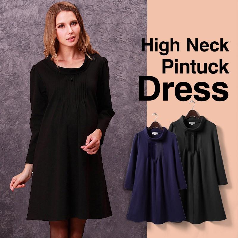 1259d1c490380 Maternity and nursing high neck pintuck dress | SWEET MOMMY