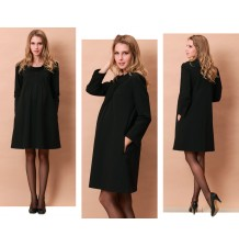 Maternity and nursing high neck pintuck dress