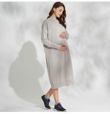Maternity and nursing long knit dress in organic cotton
