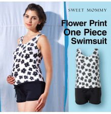 Flower print one piece maternity and nursing swimwear