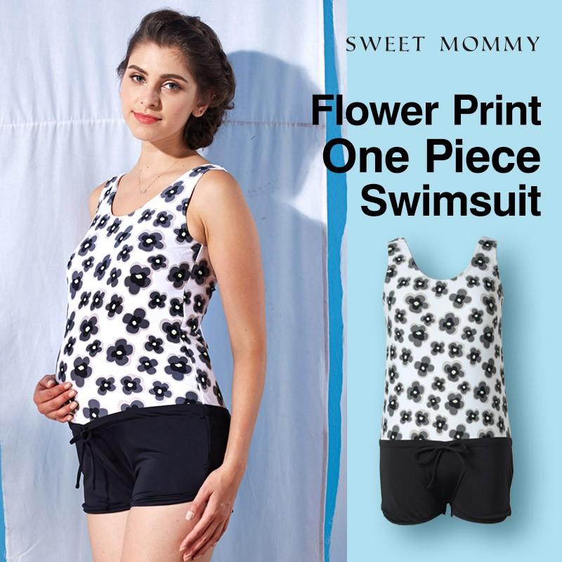 Flower print one piece maternity and nursing swimwear
