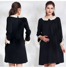 Maternity and nursing dress with detachable collar and lace sleeves