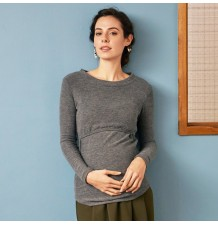 Top de grossesse et allaitement à manches longues en tissu thermique
