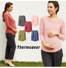 Maternity and nursing thermal wear round neck warm top