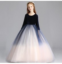 Flower girl long formal white and navy dress 110-150cm