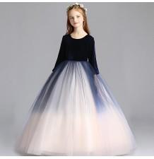 Robe longue blanche et bleue de cérémonie fille-demoiselle d'honneur 110-150cm