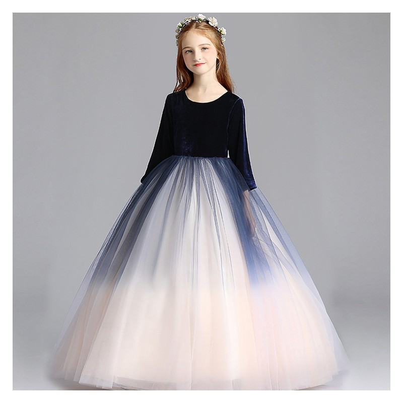c679773b68e53 Robe longue blanche et bleue de cérémonie fille-demoiselle d honneur 110-  ...