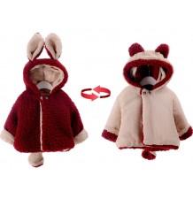 Manteau réversible pour petit enfant/petite fille avec oreilles et queue