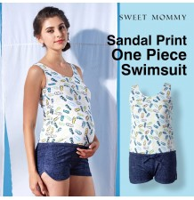 Sandal print one piece maternity and nursing swimwear
