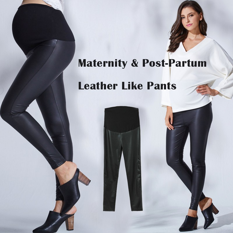Maternity and post-partum leather like leggings pants
