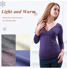 Long Sleeves Maternity & Nursing Inner Top for Delicate Skin