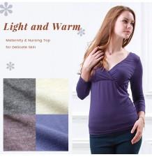 Long Sleeves Maternity & Nursing Inner Top for Delicate Skin