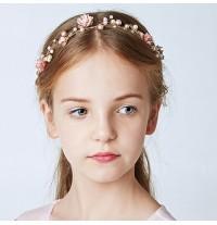 Serre-tête rose décoré de cérémonie pour fille