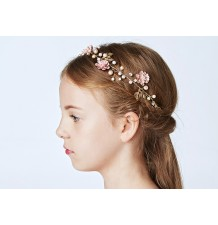 Decorated pink girl headband  for ceremonies