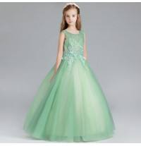Flower girl formal dress green 100-150cm