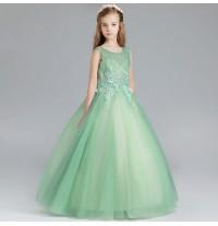 Robe vert de cérémonie fille-demoiselle d'honneur 100-150cm
