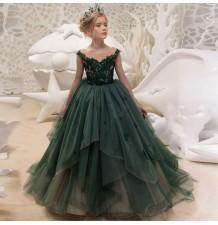 Vestito cerimonia bimba damigella verde scuro 110-160cm