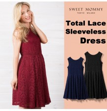 Maternity and nursing lace sleeveless formal dress