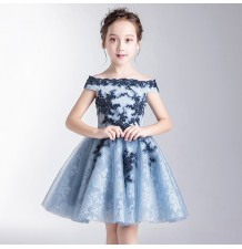 Flower girl ceremony formal dress light blue/blue 100-160cm
