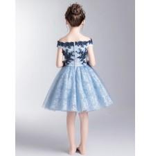 Robe bleu clair de cérémonie fille demoiselle emoiselle d'honneur 100-160cm