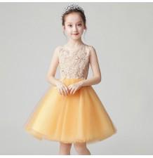 Robe ambre de cérémonie fille demoiselle d'honneur 100-160cm