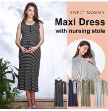 Vestito lungo premaman e allattamento con stola
