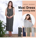 Maternity maxi dress with nursing stole