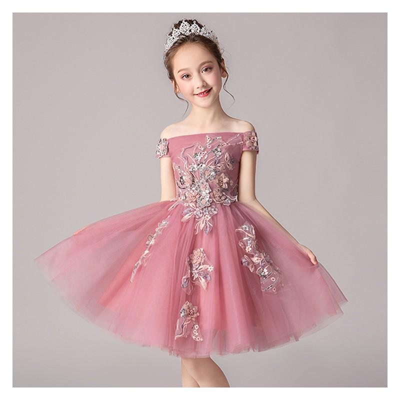 a4235cd504d Robe rose de cérémonie fille demoiselle d honneur 100- ...