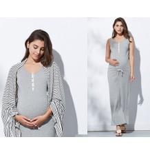 Robe longue de grossesse avec étole pour l'allaitement