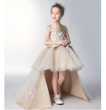Robe dorée de cérémonie fille-demoiselle d'honneur 110-160cm