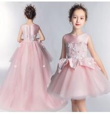 Robe rose de cérémonie fille-demoiselle d'honneur 110-160cm