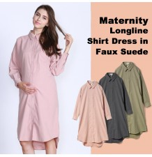 Maternity longline shirt dress in faux suede