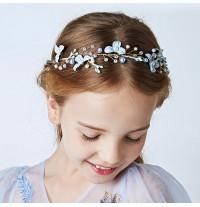 Serre-tête bleu clair décoré de cérémonie pour petite fille
