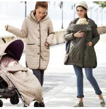 Giaccone impermeabile mamma-bimbo con sacco passeggino multifunzione coordinato