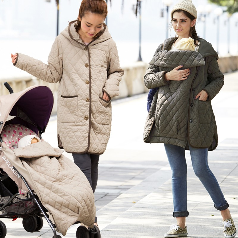 Waterproof mama coat with transformable baby pouch for stroller