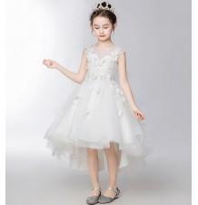 Robe blanche de cérémonie fille demoiselle d'honneur 110-160cm