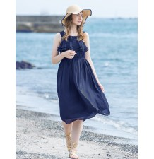 Maternity Nursing Long Chiffon Dress