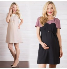 Maternity and nursing two-tone formal dress