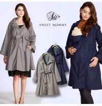 Trench-coat imperméable maman-enfant double-usage avec insert