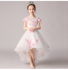 Flower girl formal dress white with pink flowers 100-160cm