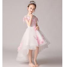 Abito bimba da damigella bianco ricamato con fiori rosa100-160cm