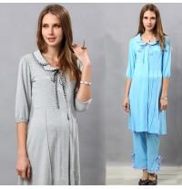 Front Piping Maternity and Nursing Nighty Pajamas