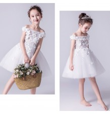 Flower girl ceremony formal dress light white 100-160cm