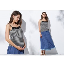 Striped maternity nursing camisole
