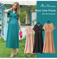 Maternity Nursing Maxi Dress With Wild Shoulder