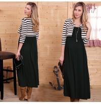Fake layered Maternity Nursing Maxi Dress